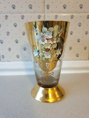 Bohemian Czech Clear Glass Gold Enamel Hand Painted Flowers Vase Approx 6.5 Inch • 12.99£