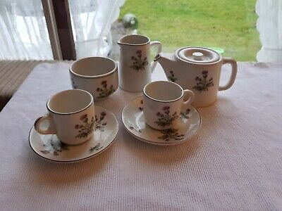 John Maddock Sons Royal Vitreous Tiny Tea Set, Thistle Design • 20£