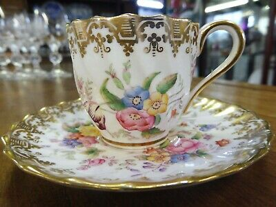Stunning Antique Copeland Spode Handpainted Floral Coffee Cup And Saucer • 48£