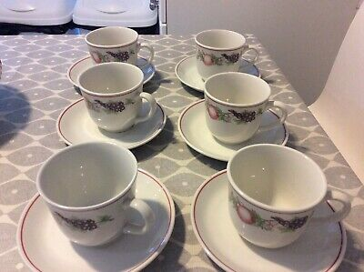 BOOTS PLC Orchard 6 Cups & Saucers • 10.99£