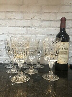 """7 X Rare Large Royal Brierley Crystal Wine Goblet Cut Glass 7"""" • 120£"""
