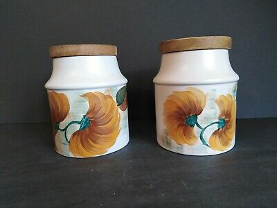Two Earthenware Canisters Hand Painted By E Radford (Woods) Design 1212 • 9.45£