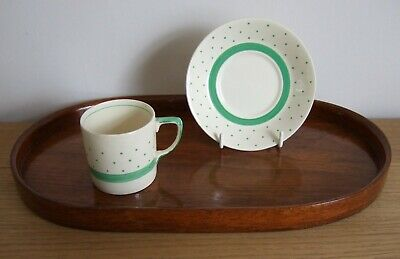 Gray's Pottery Coffee Cup & Saucer: Green Polka Dot Pattern • 5.95£