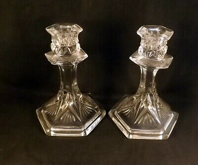 Pair Of Art Deco Glass Candlesticks By Sowerby • 6£