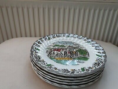 Myott Country Life China Dinner Plates. Hunting Scenes X 6 • 30£