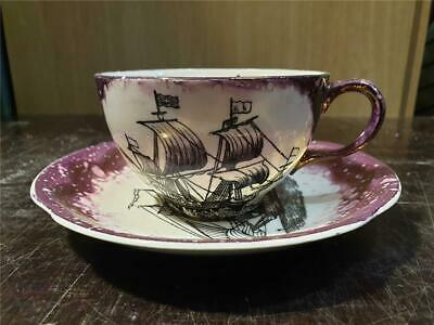 1930s Grays Pottery  Galleon Tall Ship Lustre Cup & Saucer • 24.99£