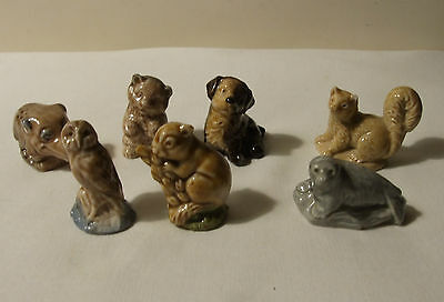 WADE PORCELAIN WHIMSIES X 7 RHINO BEAR OWL MOUSE SEAL PINE MARTEN 70's 80's • 4.99£