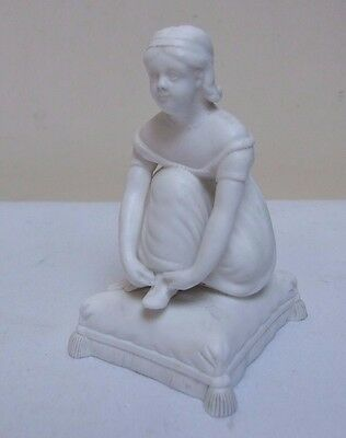 OLD CROWN DERBY PARIAN WARE BISQUE LADY ON CUSHION FIGURE FIGURINE 3.75  C19th • 22.99£