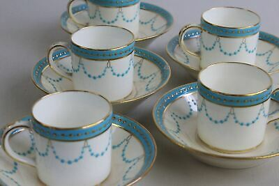 5 Antique China Minton Coffee Cans Cups & Saucers • 55£