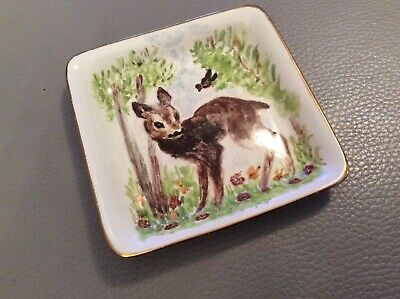 Vintage Rare Painted  Midwinter Trinket Tray Deer Fawn With Bird 117 • 6.99£