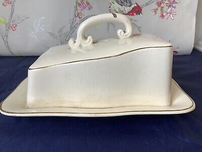 Bristol China Vintage Butter/cheese Dish White With Gold Trim • 4.95£