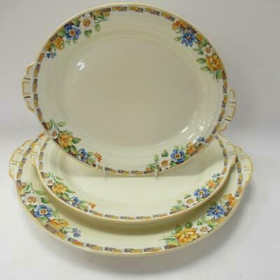 Vintage Grindley China Tableware Set Of 3 Yellow Floral Serving Plates + Handle • 15£