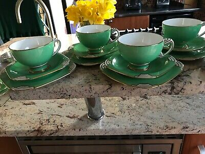 Art Deco PARAGON Period QUEEN MARY Green Tea TRIO - Stunning: Several Available • 55£