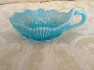 George Davidson Blue Pearline Dish With Handle Pressed Glass • 15£