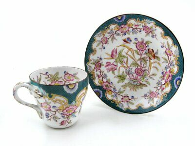 Antique French Porcelain Sarreguemines Cup And Saucer Exquisite Pattern 215 • 95£