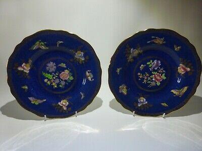 Two Spode Copelands Cabinet Plates Butterfly & Flowers Gilt Trim - Circa 1927 • 29.99£