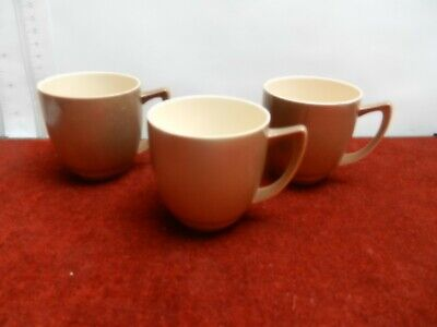 Branksome 3 Of China Coffee/Cappuccino Cups Art Deco Style 1950's Beige & Brown  • 9£