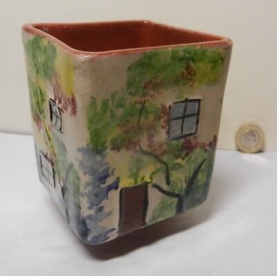 Torquay Hand Painted Cottage Ware Square Pot • 6£