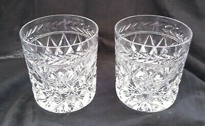 "Pair Of FINE CUT GLASS CRYSTAL WHISKY TUMBLERS GLASSES 3 3/4"" • 30£"