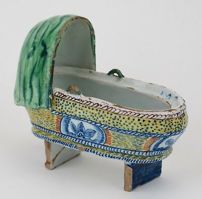 19th Century French Faience Pottery Christening Cradle • 165£