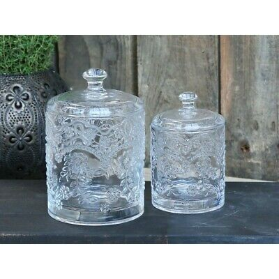 Glass Trinket Jar With Lid Dressing Table Pot French Vintage Style Bedroom  • 13.99£