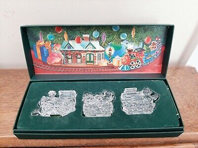Waterford Marquis Irish Crystal 3 Piece CHRISTMAS TRAIN Perfect & Boxed • 45£