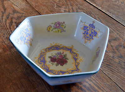 Vintage Pottery Six-sided Irregular Hexagon Bowl - Blue/red Roses & Tazza Stand • 26£