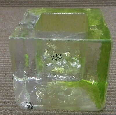 Kosta Bosta Transparent And Lime Ice Brick Shaped Heavy Votive Candle Holder • 15£