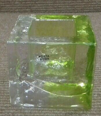Kosta Bosta Transparent And Yellow Green Brick Shaped Heavy Votive Candle Holder • 10£