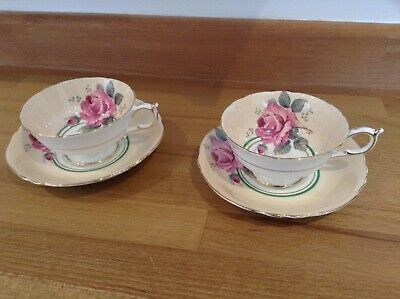 Paragon Pink Rose Handpainted Cup & Saucers X 2 Good Condition • 95£