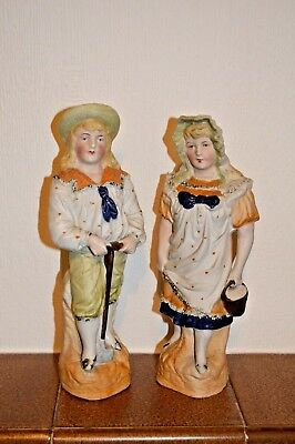 Antique Or Vintage Bisque Figures Of Man And Woman, Around 10'' Tall • 15£