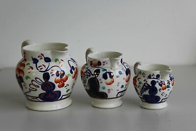 3 X Graduated Vintage Antique Allertons Gaudy Welsh Oyster Pattern Jugs • 70£