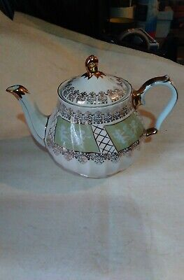Sadler Green And Gold Tea Pot With Cherubs On It • 7.99£