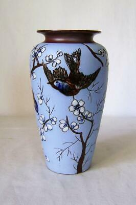 Rare Victorian Art Pottery Vase : Japanese Influenced Birds In Cherry Tree A/F • 16£