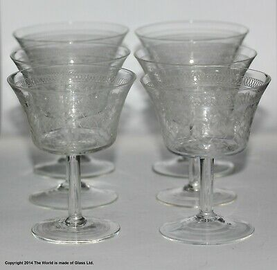 Set Of 6 Pall Mall/Lady Hamilton Pattern Small Champagne Coupes, Etched//etched • 48£