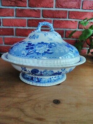 Spode Imperial Blue Rose Tureen Nine And A Half Inches Gadroon Edges Circa 1825 • 20£