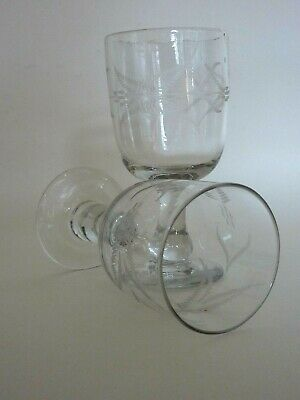 Rare True Pair Victorian Blown & Engraved Tavern Glasses Rummers 6 1/8 C.1880-90 • 48£