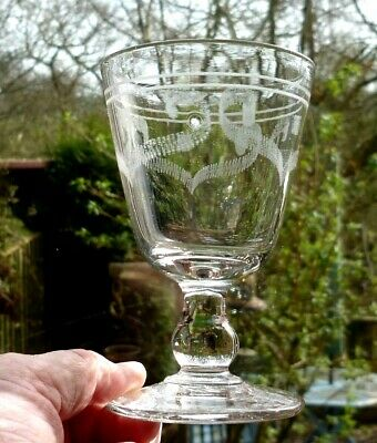 Victorian Hand Blown & Engraved/Etched Tavern Glass Rummer 5 Tall.C.1880-90 • 24£