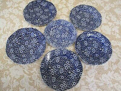 Super Royal Crownford Burleigh Blue Calico Plates - Sold Individually • 7£