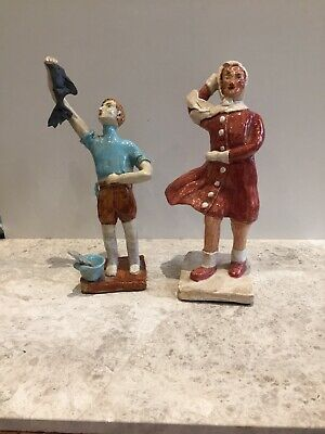 Primitive Folk Art Pottery Boy With Fish And Woman With Scarf And Red Coat • 0.99£
