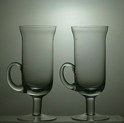 Dartington Crystal Irish Coffee Cups/Glasses Set Of 2 With Handle • 19.99£