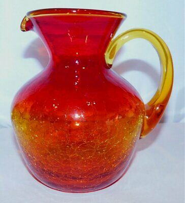 Vintage AMBERINA Red To Yellow CRACKLE GLASS PITCHER 6.25  Tall • 5.70£