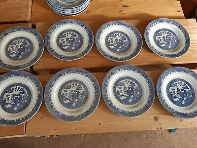 Staffordshire Blue And White Willow Pattern Plates In Good Condition 12 Plates  • 20£