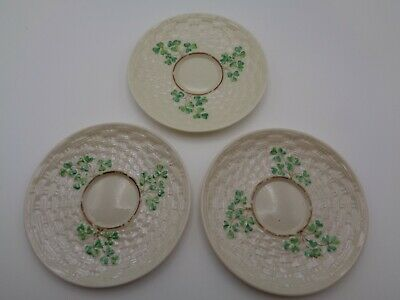 Three Antique Belleek Saucers - Co Fermanagh - Ireland • 1£