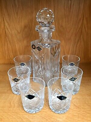 Royal Brierley Crystal Cut Glass Decanter And 6 Glasses • 25£