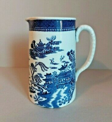 Vintage Pitcher In Blue & White Chinese Willow Style Pattern • 2.75£