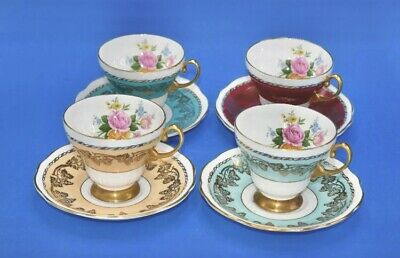 Foley Bone Chine Set Of Four Harlequin Cabinet Tea Cups & Saucers • 39.99£