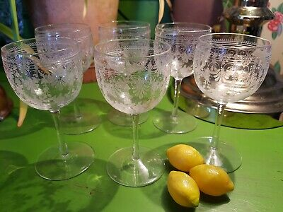 Set 6 Antique Wine Aperitif SMALL Glasses Highly Decorative Edwardian Victorian • 29.99£