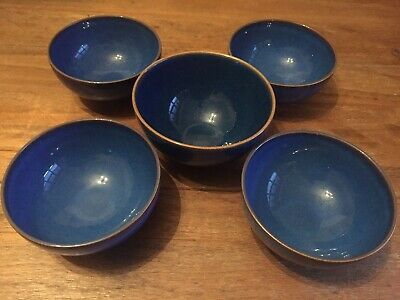 Denby Imperial Blue 4 X Rice Bowls + 1 Similiar Bowl Tapas Dips Nuts Nibbles • 17.99£
