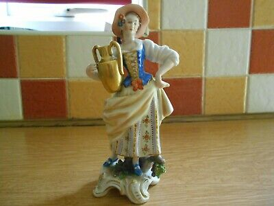 Rudolf Kammer Volkstedt German Porcelain Figure Of A Lady With Pitcher • 9.99£